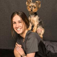 Breanna Mathews with a dog