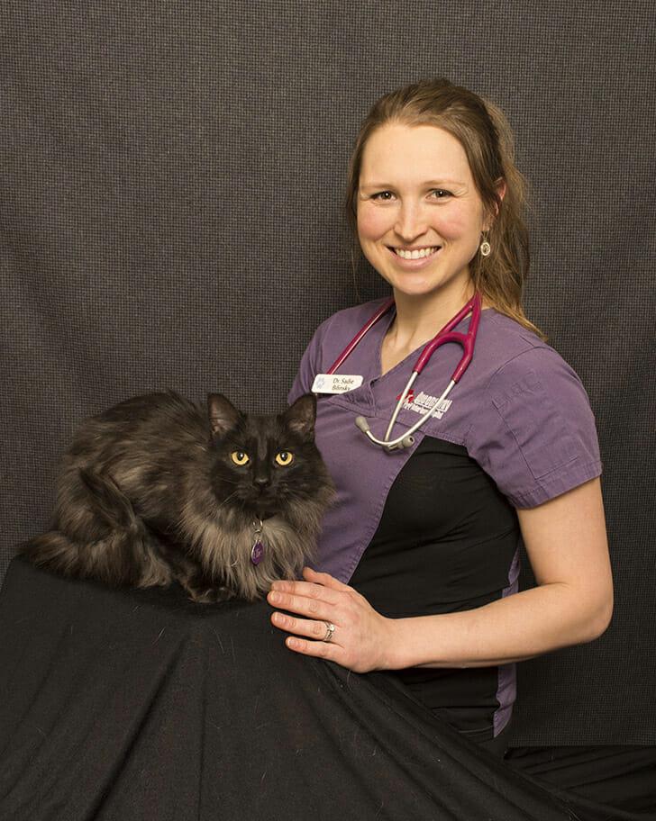 Dr. Sadie Bilinsky with a cat