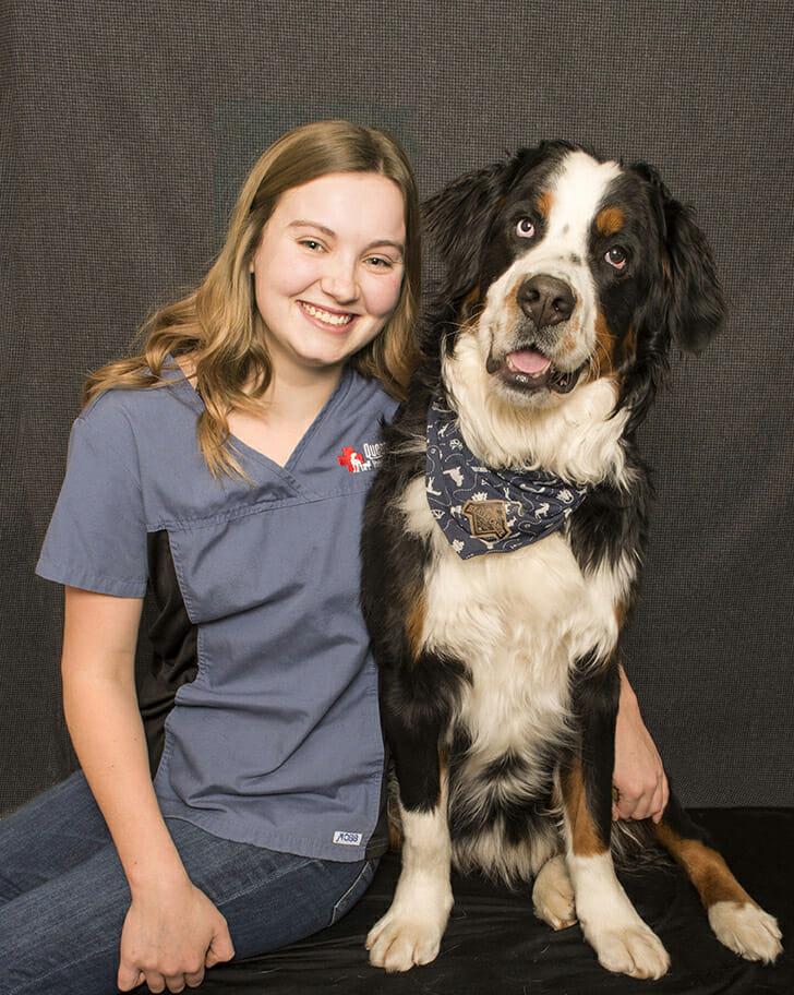 Kristyn Hallema with a dog