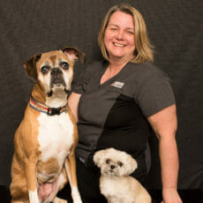 Lisa Weaver with two dogs