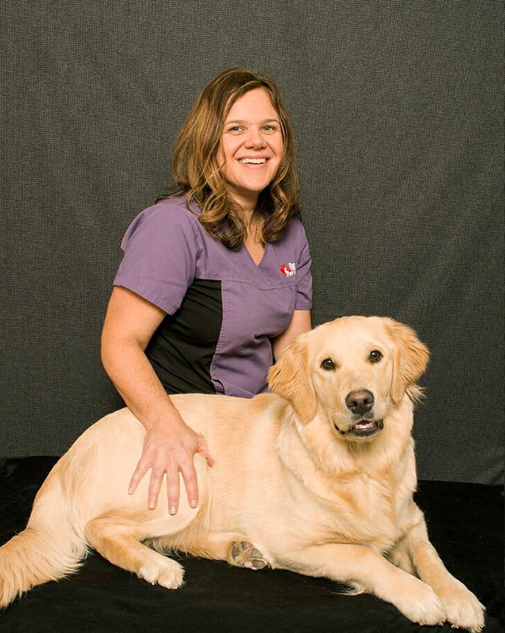 Melissa Ragany-Siemens with a dog