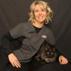 Paula Kowalsky with a cat