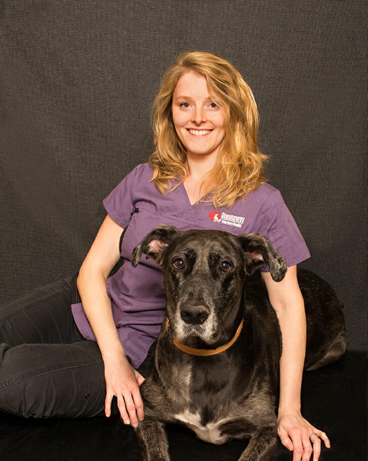 Rebecca Kaiser with a dog